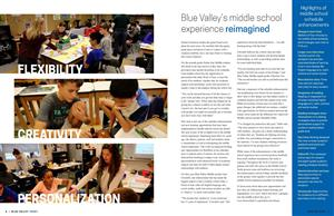middle school students working in the classroom, image pulled from Blue Valley Today