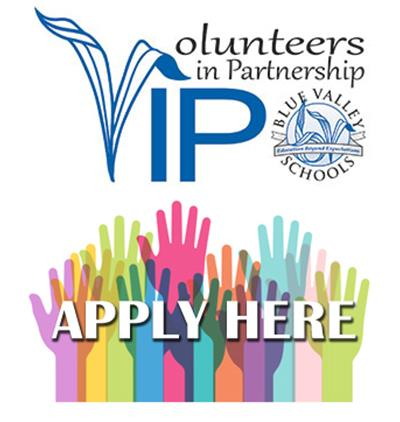 Volunteers in Partnership logo and application button